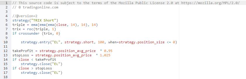 esempio di programma di trading algoritmico che vende allo scoperto le azioni in base alle indicazioni del TRIX