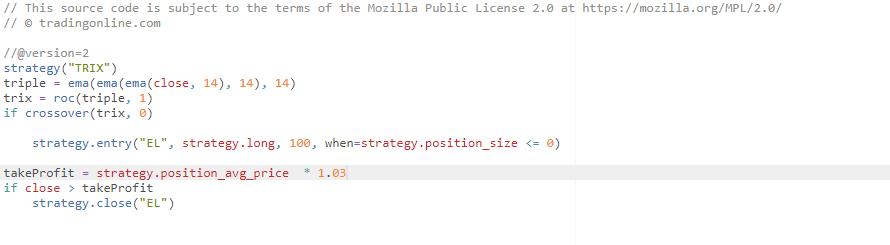 esempio di programma di trading algoritmico che utilizza il TRIX per ottenere segnali di acquisto